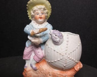 Vintage Bisque Boy Feeding Chick with Wooden Spoon