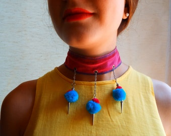 Pink velvet with blue pompons Choker