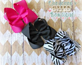 Zebra Hair Bow Set