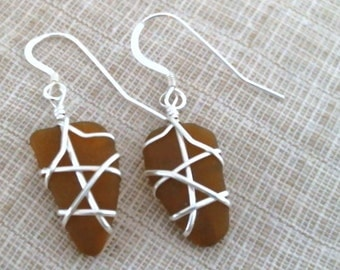 Brown Sea Glass and Sterling Silver Earrings 082815