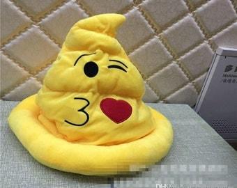 Emoji kissy face plush hat