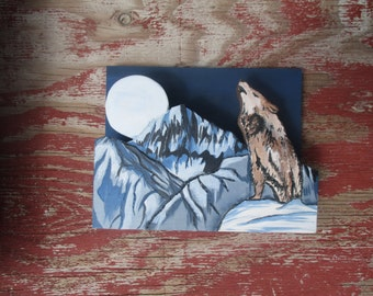 Hand Made, Painted, Wolf Howling at the Moon, Napkin Holder
