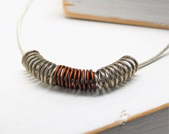 Sterling Silver and Copper Wire Coil Pendant