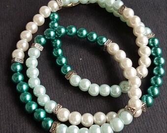 Multi-color Pearl Wrap Bracelet