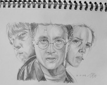 Harry Potter, Ron Weasley, Hermione Granger pencil drawing