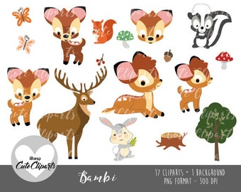 50% OFF SALE Bambi clipart-Bambi Digital Clip Art-Forest Clipart-Disney clipart-deer clipart-bambi stickers-bambi cute cliparts-png cliparts