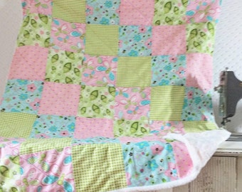 Pink and Green Sweet Pea Baby Quilt