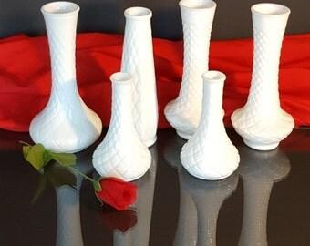 MILKGLASS VASE SET - 6 vases