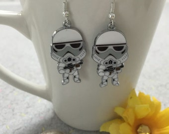 Star Wars Storm Trooper dangle earrings