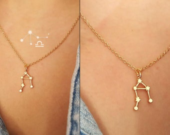 Libra Necklace ,constellation necklace,/ 18k Gold, Silver /  layered necklace / zodiac sign necklace,wedding jewelry ,Gift,custom necklace