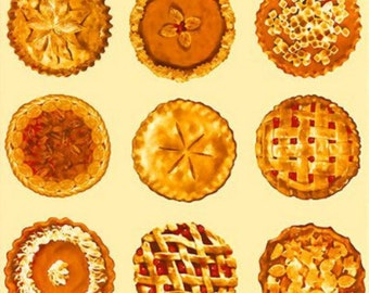 Bake Sale Fabric- Pies Fabric Panel Light Yellow/Cream Background- Thanksgiving pies, holiday pies, Christmas pies