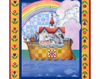 Jim Shore Fabric- Noah's Ark Fabric- Nursery Fabric- Noah's Ark Fabric By the Panel