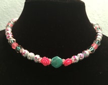 Teal and Pink 18 inch Springtime Roses Necklace