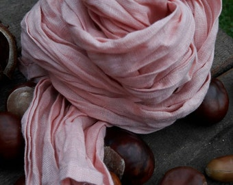 Beautiful light #pink 100 percent #linen #scarf for #stylish woman
