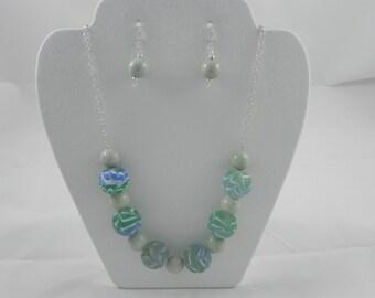 Blue/green glass necklace/earring set