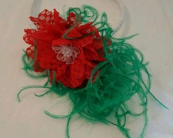 Green and red feathered headband