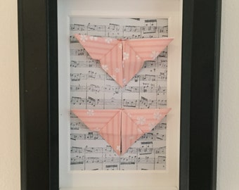 Origami Butterflies - Pink / Music (Framed Original Art)