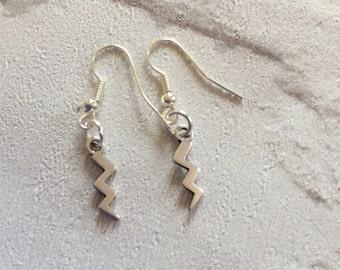 Lightening Earrings, Silver Earrings,  Harry Potter Scar Earrings, Lightenings Strike Earrings, Silver Drop Earrings, Sterling Silver.