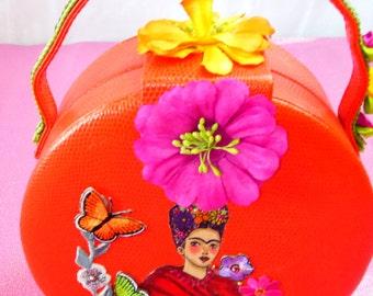 SUMMER SALE!  Frida Kahlo embellished upcycled round orange bag with lime green lining - unique Christmas gift!
