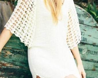 White Bohemian Crochet Dress One size