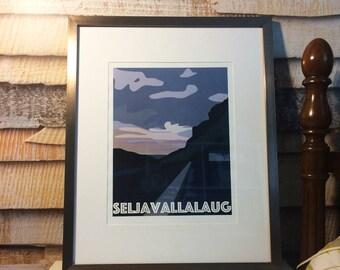 Icelandic Scenic Print - Seljavallalaug