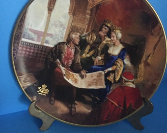 """SALE; Rockwell """"The QUEEN'S APPROVAL""""  Columbus Discovers America; 500th Anniversary; Collectible Plate; Made in U.S.A."""