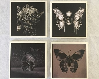 Goth ceramic coasters, skull coasters, skulls and butterflies, set of 4