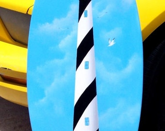 Cape Hatteras Lighthouse, handcrafted, hand painted Surfboard Wall Art