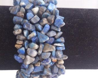 Sale price! Genuine gemstone woven cuff bracelets: sodalite, rhodochrosite, rose quartz