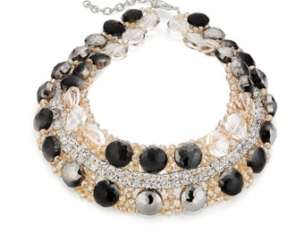 Black & Clear Crystal Necklace