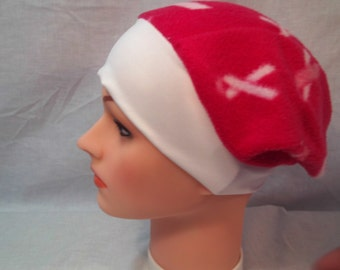 Fleece cap, breast cancer cap, chemo cap, cancer cap