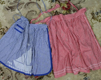 Vintage Aprons / 2 x 50's Style Aprons / Red and Blue Retro Apron / Hand made Apron