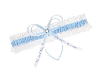 Wedding garter blue and white lace