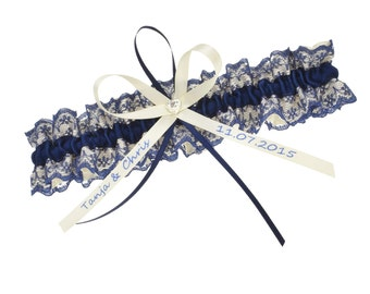 Bridal Garter dark blue and cream - personnalisable