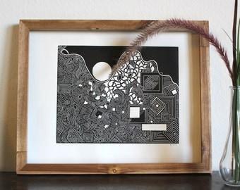 Big Doodle 12x14 inch Original Block Print