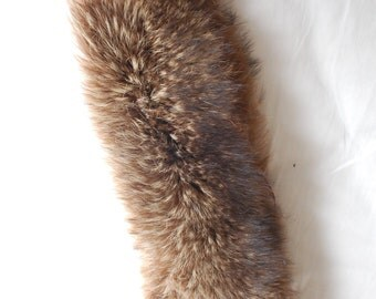 Vintage 50s Soft Coyote Fur Collar Stole Wrap Scarf Brown Tan