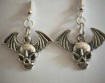 Spooky Halloween Party jewellery earrings, bat wing and skull handcrafted gift for her, trick or treating earrings, sterling silver earrings
