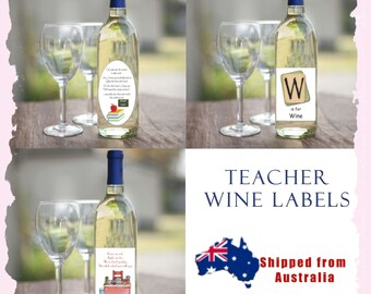 Teacher Christmas Wine Bottle Label holiday Appreciation Gift - Day Care School Funny Thanks Thank You child xmas Sport Coach tutor unique