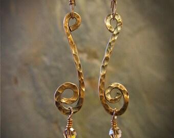 Snake Charmer - Copper & Silver earrings