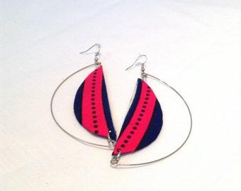 Pink Half Moon Earrings