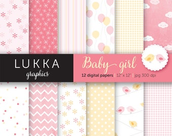 Baby girl digital paper pack; digital patterns; flowers, Gingham, polka dots, Kawaii clouds, balloons, birds; pink and yellow