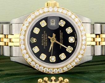 Rolex Datejust Ladies 2-Tone Gold/Steel 26mm Watch w/Black Dial & Diamond Bezel
