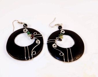 Black Circle Wooden Earrings Type III
