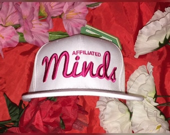 All white A.M. Snapback (pink print)