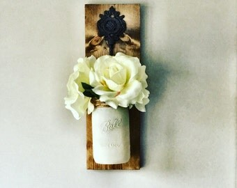 Hanging Mason Jar, Mason jar Sconce, Rustic Wall Decor, White Roses