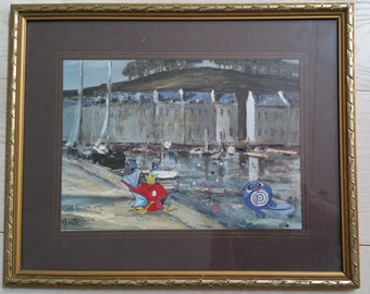 Paintings with Pokemon: harbour scene with hand-painted Poliwag and Magikarp (42 x 34 cm)