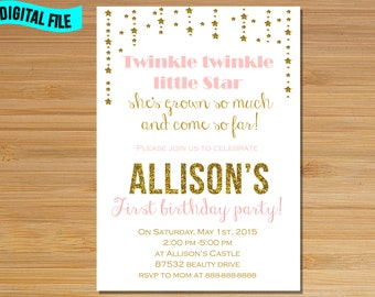 Pink and Gold Twinkle Twinkle Little Star Invitation, Twinkle Twinkle Little Star First Birthday Invitation, Little Star birthday