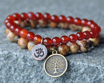 Confidence and Stability, Carnelian Bracelet,Picture Jasper Mala Wrap,Yoga OM Bracelet,Tree of Life Stackable bracelet,Mantra, Reiki healing