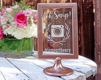 Custom Vintage Instagram Social Media Wedding Signage / Frame In Rose Gold / Unique Hashtag / Modern Glam