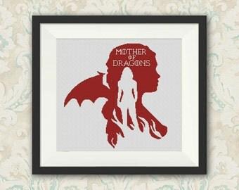 BOGO FREE! Daenerys Targaryen, Game of Thrones Cross Stitch Pattern Silhouette Cross Stitch Chart, Needlework PDF Instant Download,S045